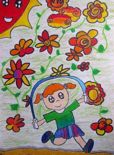 跳绳-蜡笔画图集图片_儿童蜡笔画