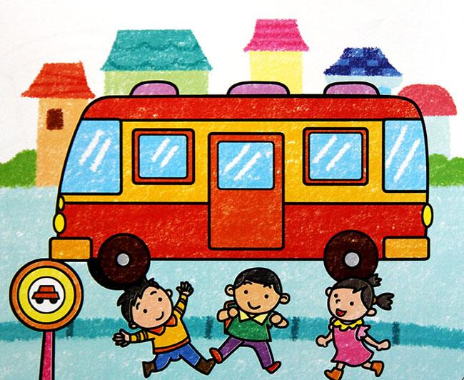 过马路-蜡笔画图集图片_儿童蜡笔画_少儿图库_中国