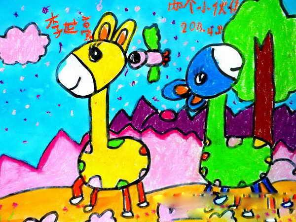长颈鹿-蜡笔画图集图片