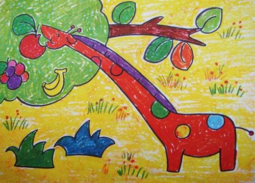 长颈鹿-蜡笔画图集