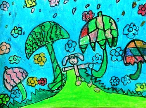 雨-蜡笔画图集图片_儿童蜡笔画_少儿图库_中国儿童