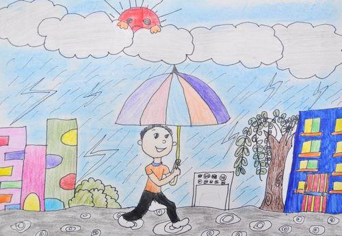 雨天-蜡笔画图集图片_儿童蜡笔画_少儿图库_中国儿童