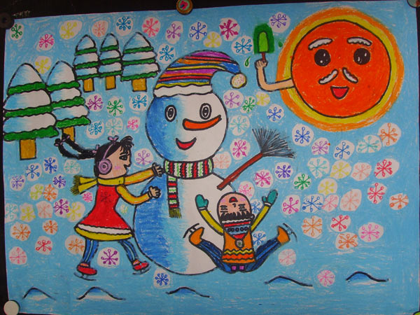 雪人-蜡笔画图集