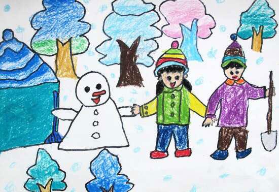 雪人-蜡笔画图集图片_儿童蜡笔画_少儿图库_中国儿童