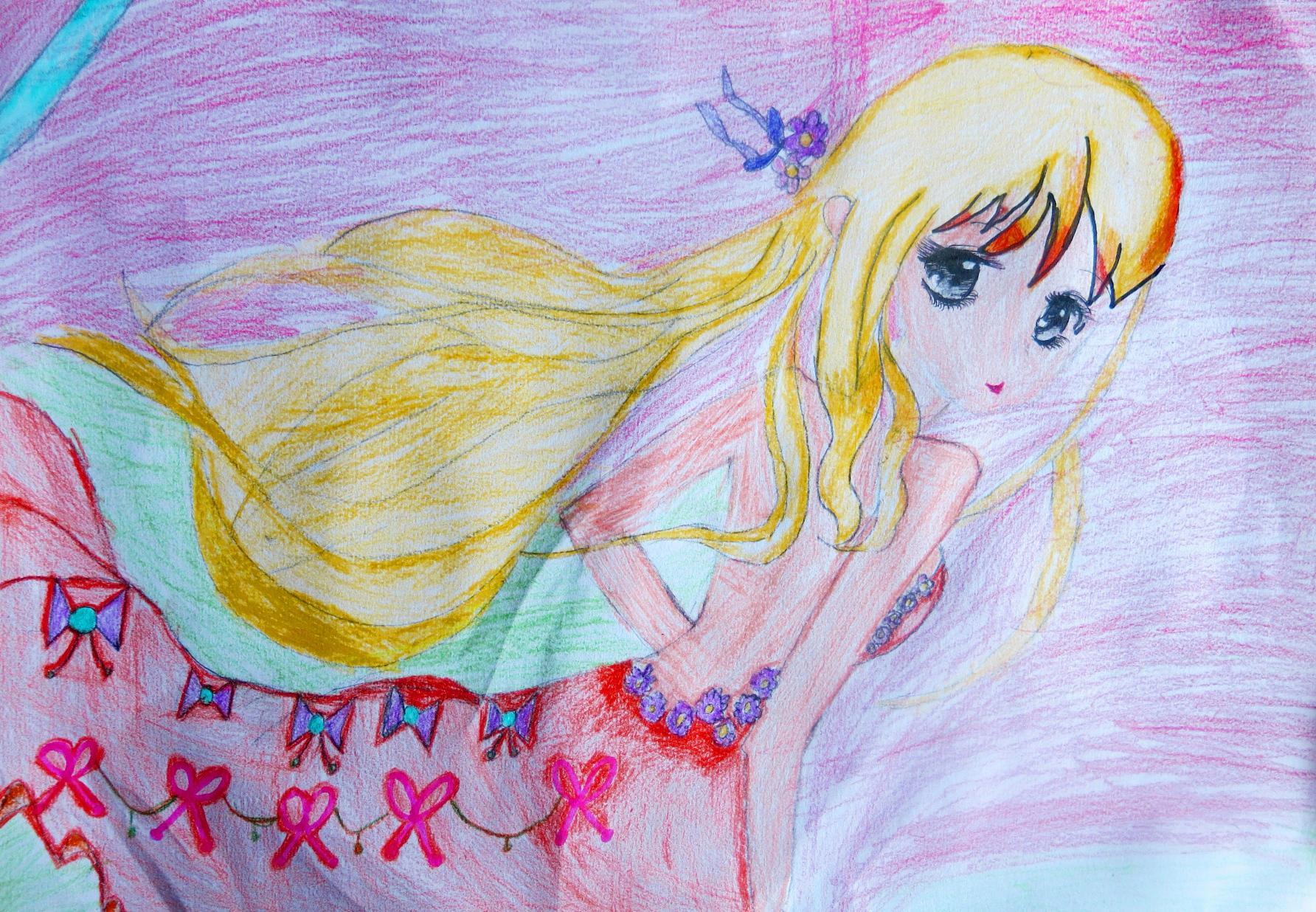 美少女的素描或蜡笔画