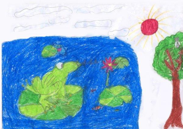 青蛙-蜡笔画图集