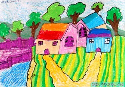 风景-蜡笔画图集图片_儿童蜡笔画图片