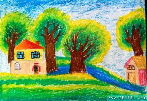 风景-蜡笔画图集图片_儿童蜡笔画
