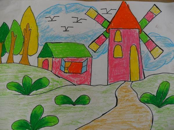 风车-蜡笔画图集图片_儿童蜡笔画