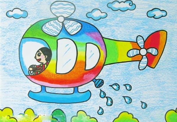 飞机-蜡笔画图集