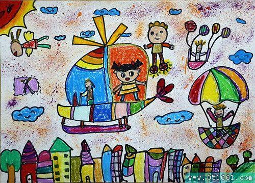 飞机-蜡笔画图集图片_儿童蜡笔画