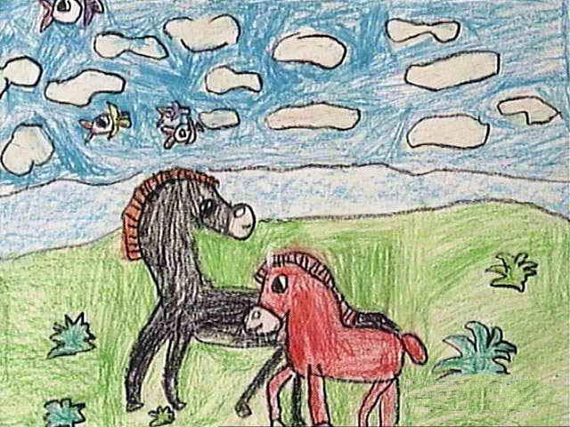 马-蜡笔画图集图片_儿童蜡笔画