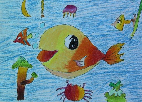 学生画画海底世界