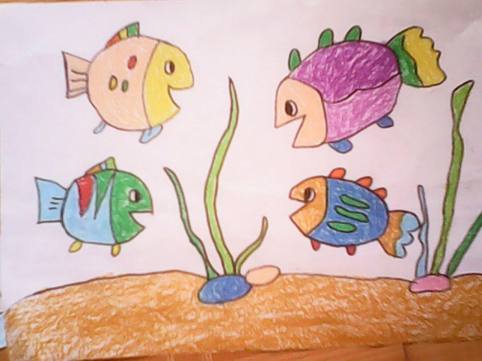 鱼-蜡笔画图集图片