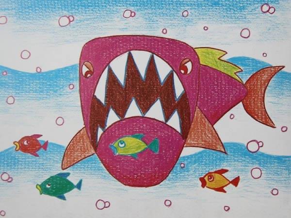 鲨鱼-蜡笔画图集图片_儿童蜡笔画_少儿图库_中国儿童