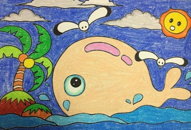 鲸鱼-蜡笔画图集图片