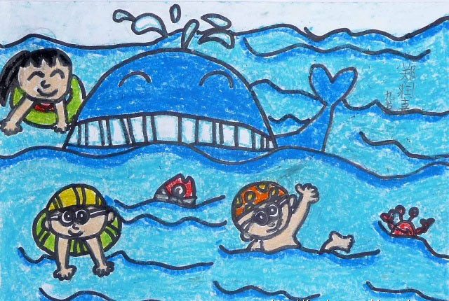 鲸鱼-蜡笔画图集图片_儿童蜡笔画_少儿图库_中国儿童