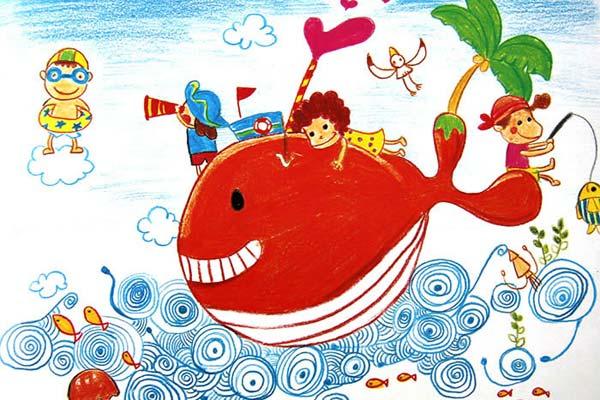 鲸鱼-蜡笔画图集